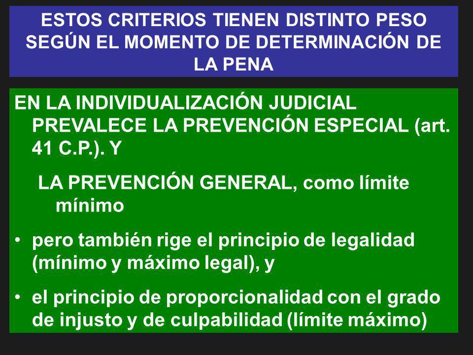 ESTOS CRITERIOS TIENEN DISTINTO PESO SEGÚN EL MOMENTO DE DETERMINACIÓN DE LA PENA EN LA INDIVIDUALIZACIÓN JUDICIAL PREVALECE LA PREVENCIÓN ESPECIAL (a