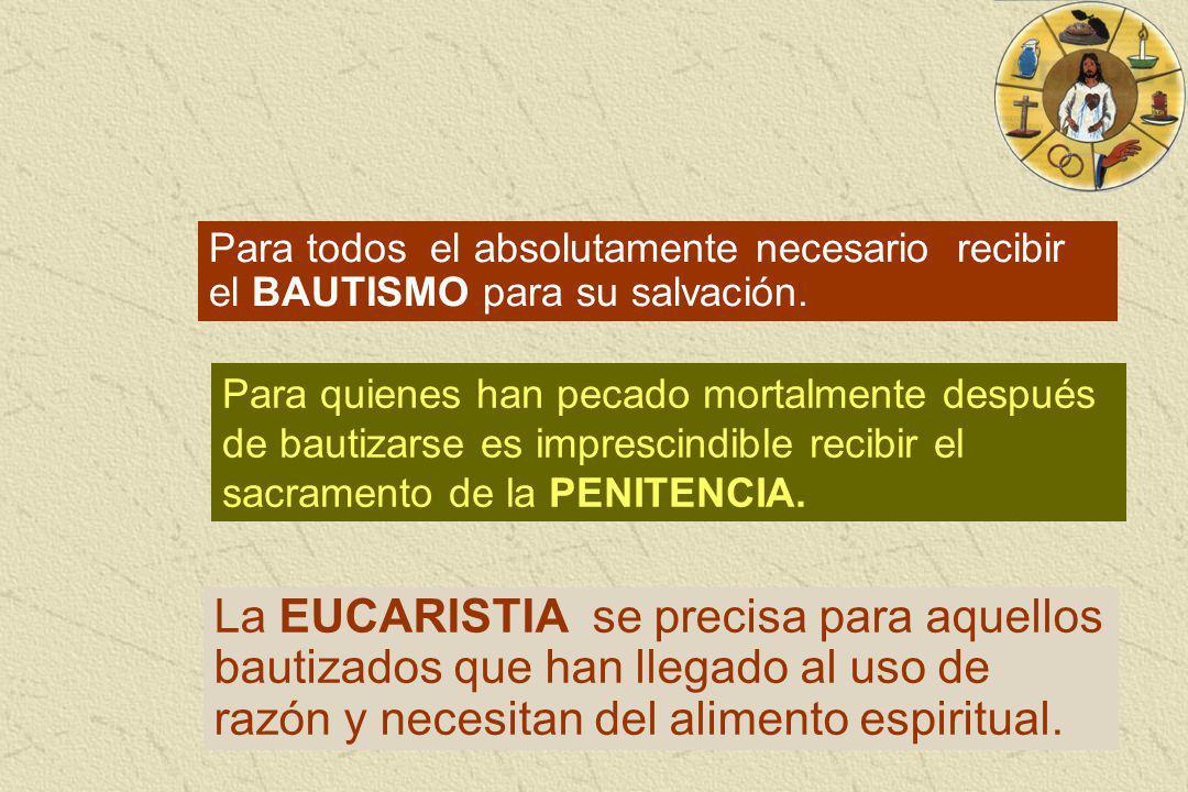 Para todos el absolutamente necesario recibir el BAUTISMO para su salvación. Para quienes han pecado mortalmente después de bautizarse es imprescindib