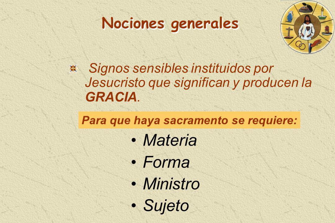Signos sensibles instituidos por Jesucristo que significan y producen la GRACIA. Nociones generales Materia Forma Ministro Sujeto Para que haya sacram