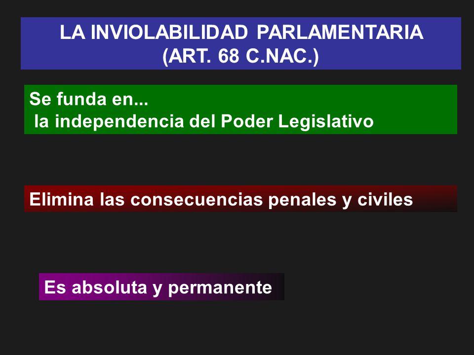 LA INVIOLABILIDAD PARLAMENTARIA (ART. 68 C.NAC.) Se funda en... la independencia del Poder Legislativo Elimina las consecuencias penales y civiles Es