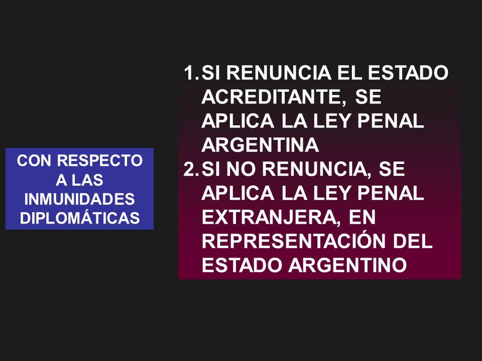 CON RESPECTO A LAS INMUNIDADES DIPLOMÁTICAS 1.SI RENUNCIA EL ESTADO ACREDITANTE, SE APLICA LA LEY PENAL ARGENTINA 2.SI NO RENUNCIA, SE APLICA LA LEY PENAL EXTRANJERA, EN REPRESENTACIÓN DEL ESTADO ARGENTINO