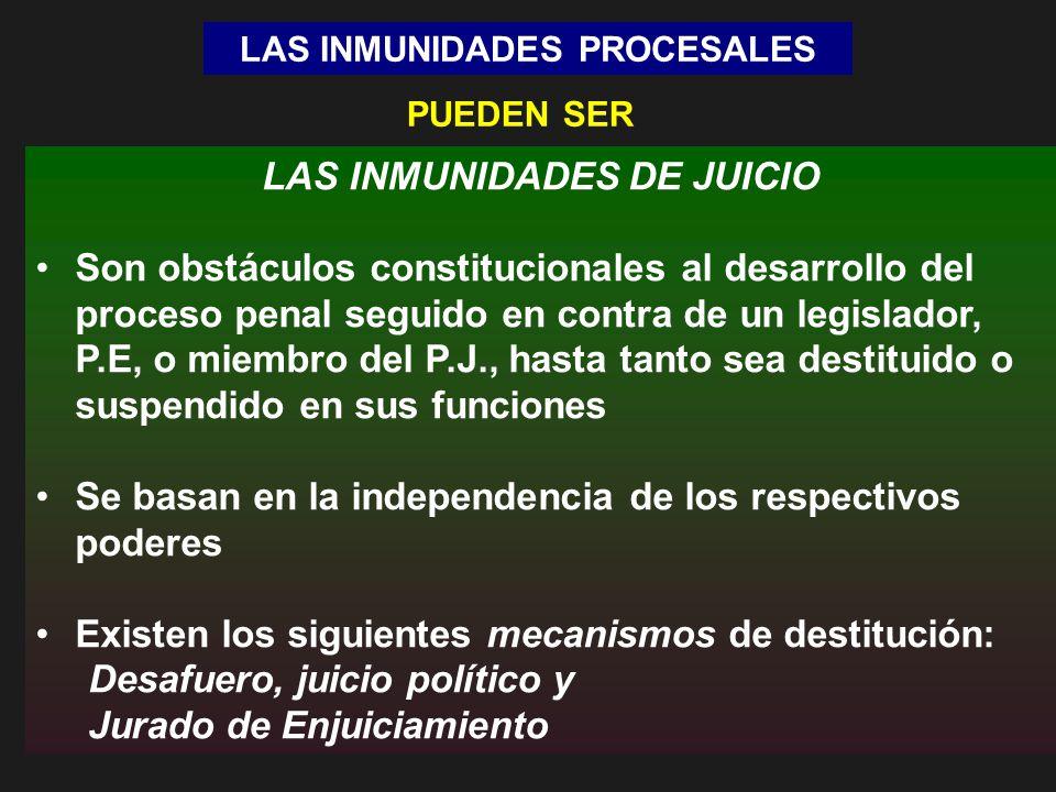 LAS INMUNIDADES PROCESALES LAS INMUNIDADES DE JUICIO Son obstáculos constitucionales al desarrollo del proceso penal seguido en contra de un legislado