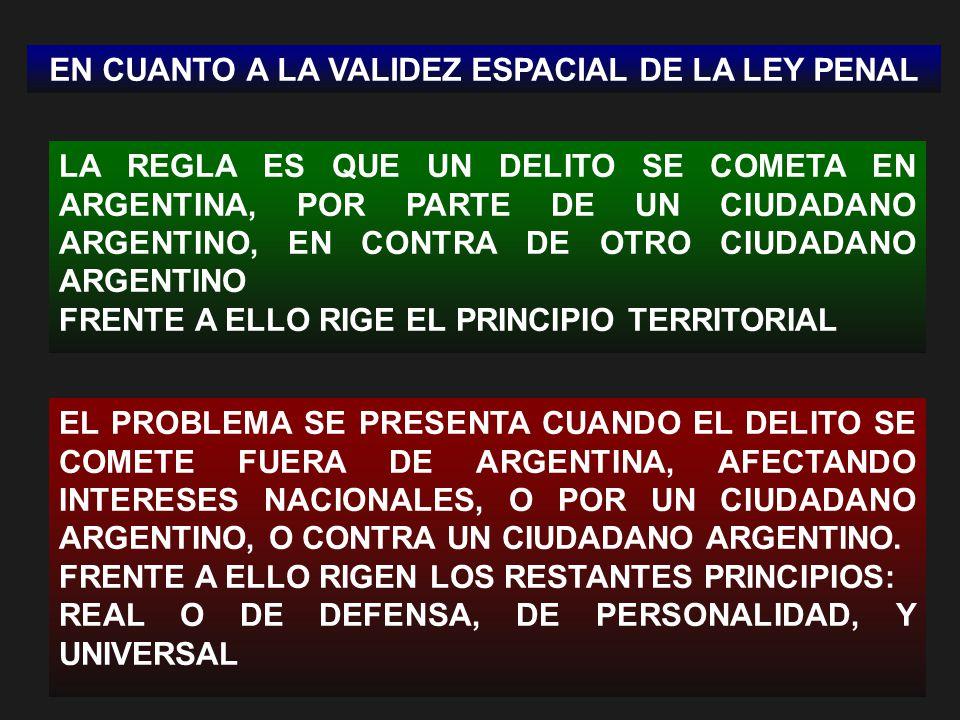EN CUANTO A LA VALIDEZ ESPACIAL DE LA LEY PENAL LA REGLA ES QUE UN DELITO SE COMETA EN ARGENTINA, POR PARTE DE UN CIUDADANO ARGENTINO, EN CONTRA DE OTRO CIUDADANO ARGENTINO FRENTE A ELLO RIGE EL PRINCIPIO TERRITORIAL EL PROBLEMA SE PRESENTA CUANDO EL DELITO SE COMETE FUERA DE ARGENTINA, AFECTANDO INTERESES NACIONALES, O POR UN CIUDADANO ARGENTINO, O CONTRA UN CIUDADANO ARGENTINO.