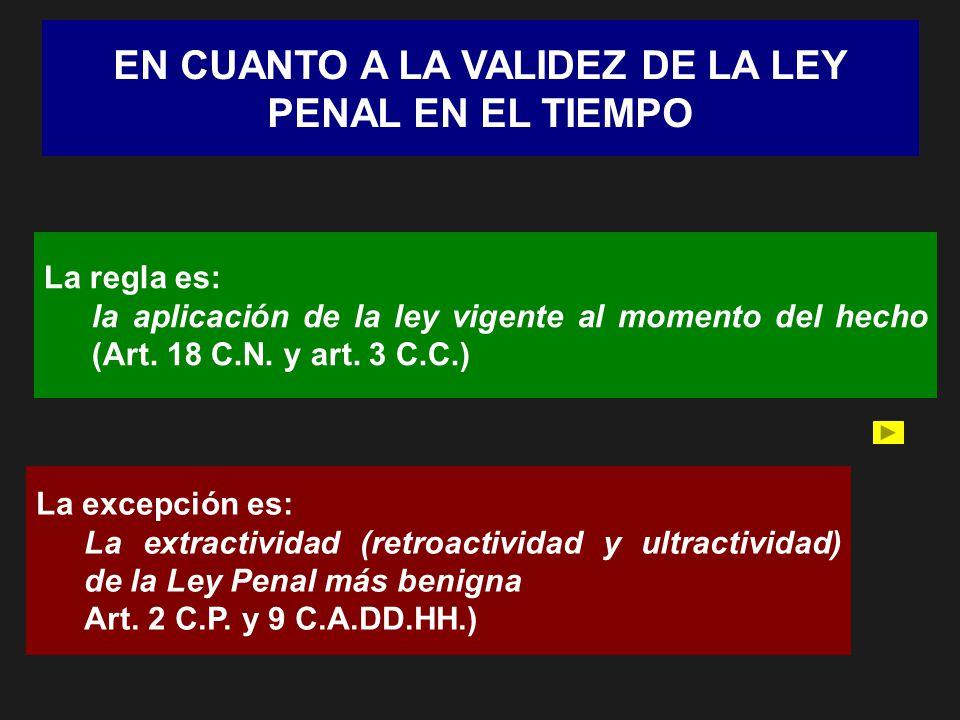 EN CUANTO A LA VALIDEZ DE LA LEY PENAL EN EL TIEMPO La regla es: la aplicación de la ley vigente al momento del hecho (Art. 18 C.N. y art. 3 C.C.) La