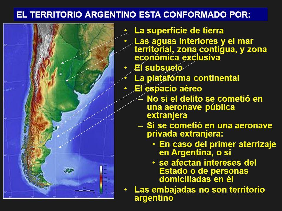 EL TERRITORIO ARGENTINO ESTA CONFORMADO POR: La superficie de tierra Las aguas interiores y el mar territorial, zona contigua, y zona económica exclus
