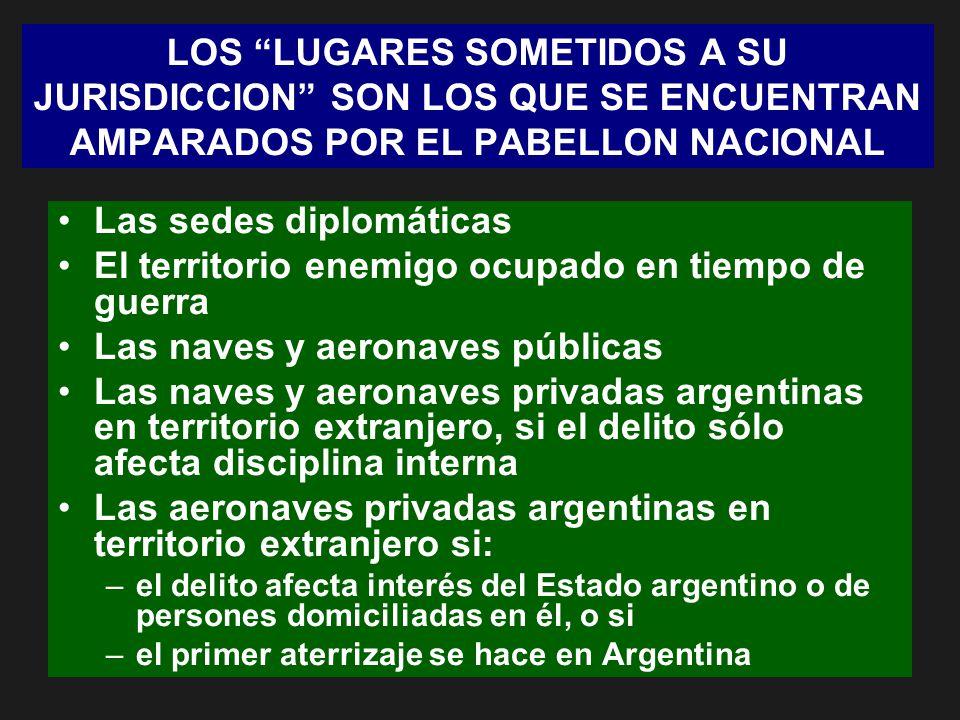 LOS LUGARES SOMETIDOS A SU JURISDICCION SON LOS QUE SE ENCUENTRAN AMPARADOS POR EL PABELLON NACIONAL Las sedes diplomáticas El territorio enemigo ocup