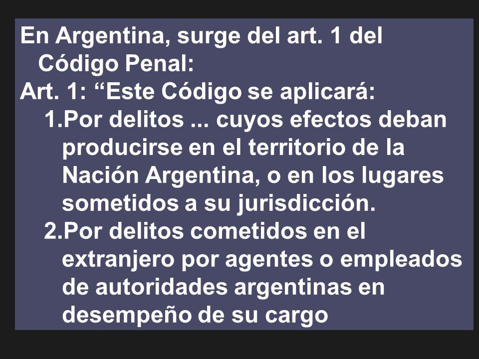 En Argentina, surge del art. 1 del Código Penal: Art. 1: Este Código se aplicará: 1.Por delitos... cuyos efectos deban producirse en el territorio de