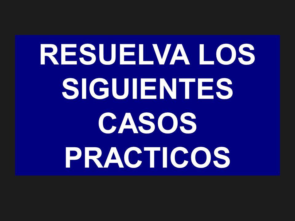 RESUELVA LOS SIGUIENTES CASOS PRACTICOS
