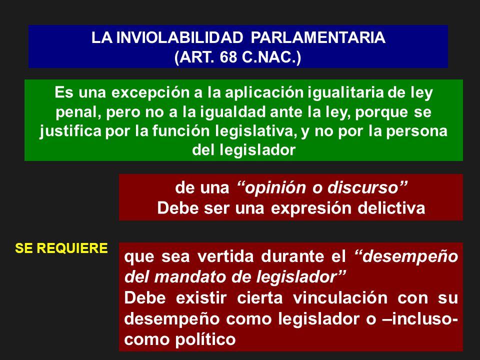 LA INVIOLABILIDAD PARLAMENTARIA (ART. 68 C.NAC.) Es una excepción a la aplicación igualitaria de ley penal, pero no a la igualdad ante la ley, porque