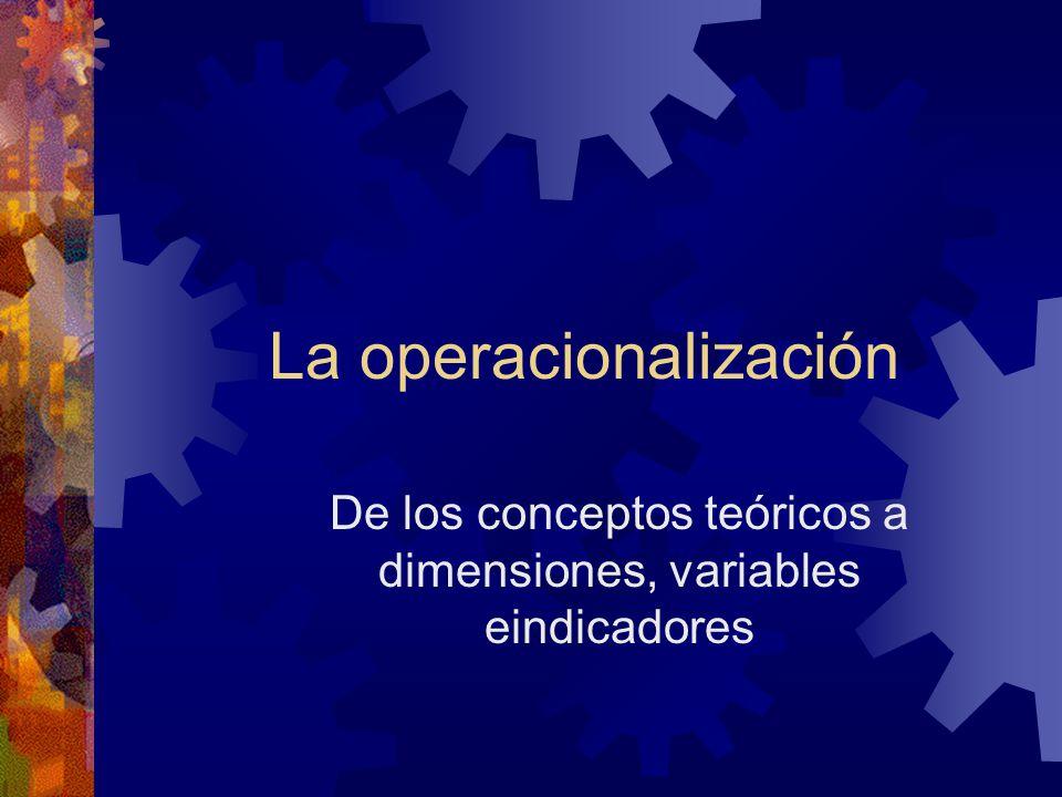 La operacionalización De los conceptos teóricos a dimensiones, variables eindicadores