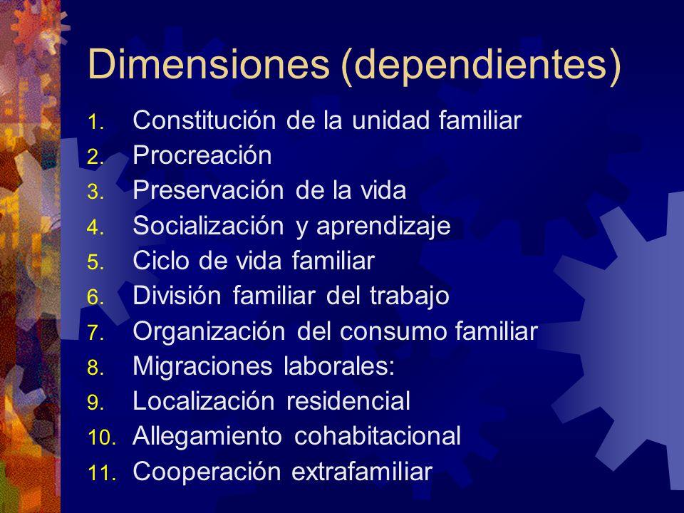 Dimensiones (dependientes) 1.Constitución de la unidad familiar 2.