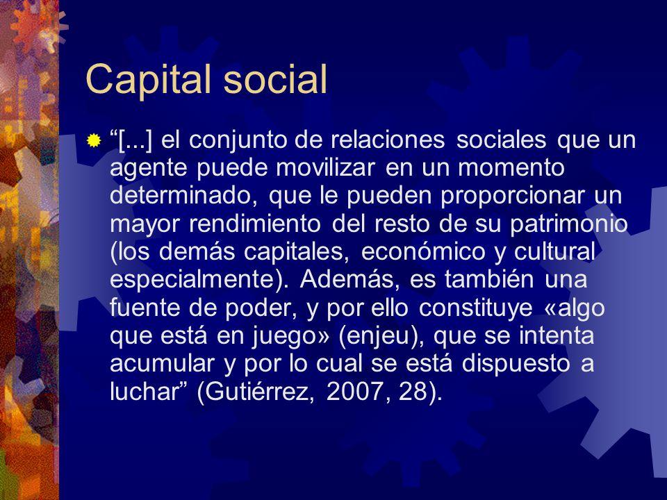 Capital social [...] el conjunto de relaciones sociales que un agente puede movilizar en un momento determinado, que le pueden proporcionar un mayor rendimiento del resto de su patrimonio (los demás capitales, económico y cultural especialmente).