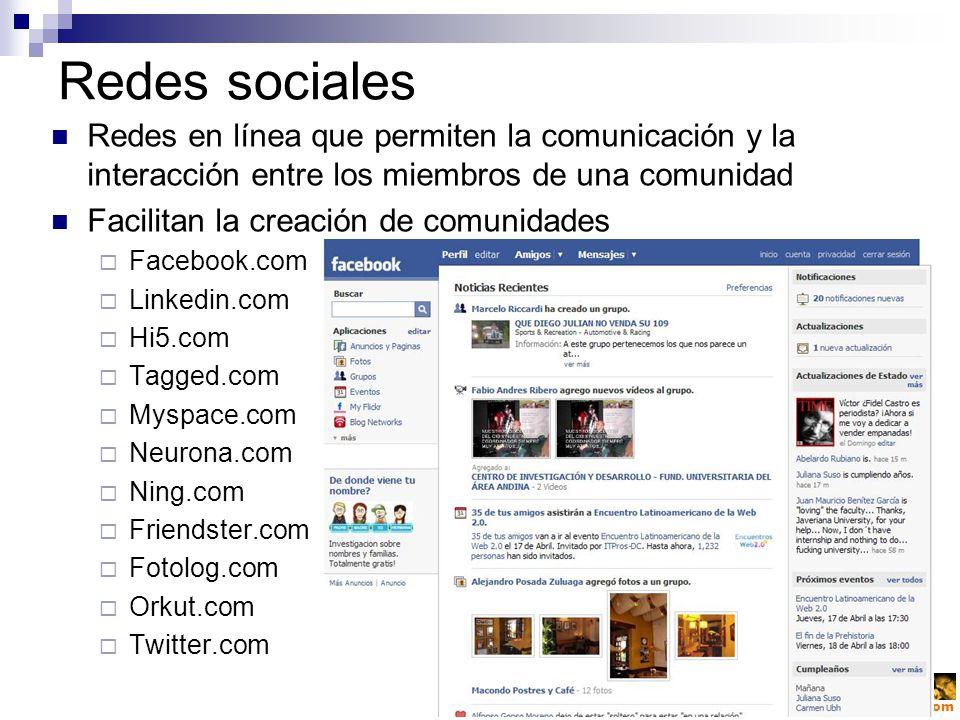 victorsolano.com Redes sociales Redes en línea que permiten la comunicación y la interacción entre los miembros de una comunidad Facilitan la creación de comunidades Facebook.com Linkedin.com Hi5.com Tagged.com Myspace.com Neurona.com Ning.com Friendster.com Fotolog.com Orkut.com Twitter.com