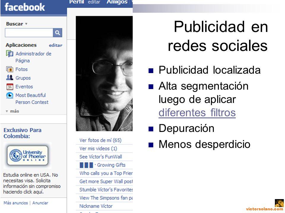 victorsolano.com Publicidad en redes sociales Publicidad localizada Alta segmentación luego de aplicar diferentes filtros diferentes filtros Depuración Menos desperdicio