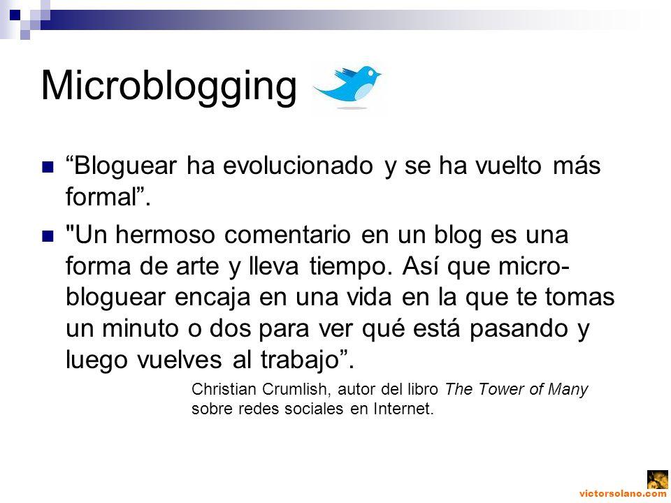victorsolano.com Microblogging Bloguear ha evolucionado y se ha vuelto más formal.