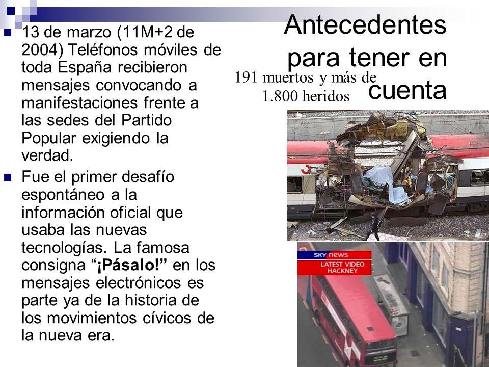 victorsolano.com Antecedentes para tener en cuenta 13 de marzo (11M+2 de 2004) Teléfonos móviles de toda España recibieron mensajes convocando a manifestaciones frente a las sedes del Partido Popular exigiendo la verdad.
