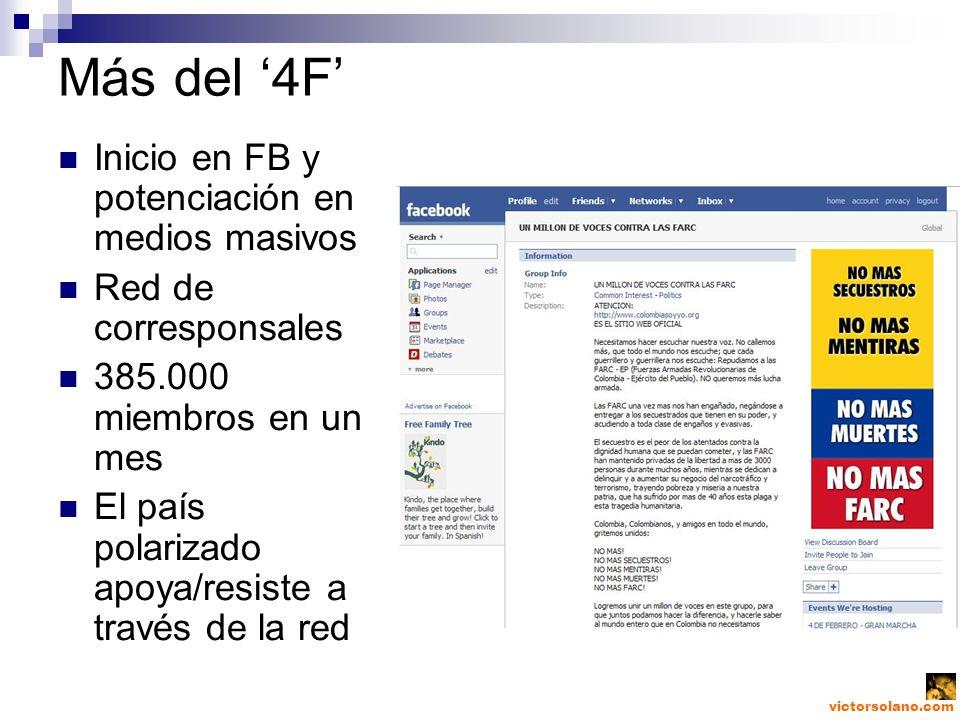 victorsolano.com Más del 4F Inicio en FB y potenciación en medios masivos Red de corresponsales 385.000 miembros en un mes El país polarizado apoya/resiste a través de la red