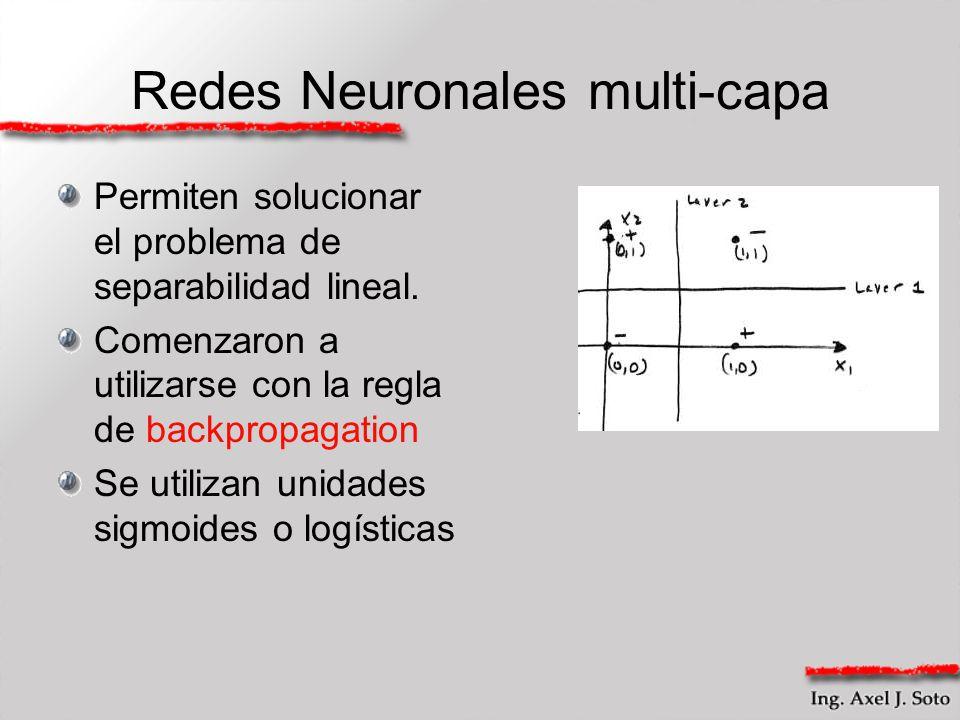 Redes Neuronales multi-capa Permiten solucionar el problema de separabilidad lineal. Comenzaron a utilizarse con la regla de backpropagation Se utiliz