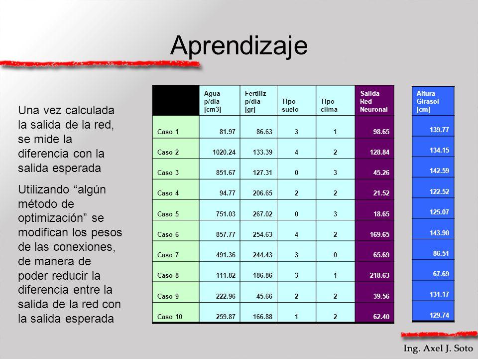 Aprendizaje Agua p/dia [cm3] Fertiliz p/día [gr] Tipo suelo Tipo clima Salida Red Neuronal Caso 181.9786.633198.65 Caso 21020.24133.3942128.84 Caso 38