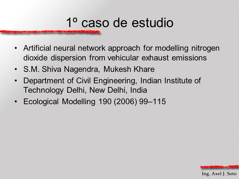 1º caso de estudio Artificial neural network approach for modelling nitrogen dioxide dispersion from vehicular exhaust emissions S.M. Shiva Nagendra,