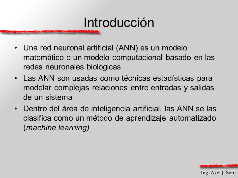 Introducción Una red neuronal artificial (ANN) es un modelo matemático o un modelo computacional basado en las redes neuronales biológicas Las ANN son