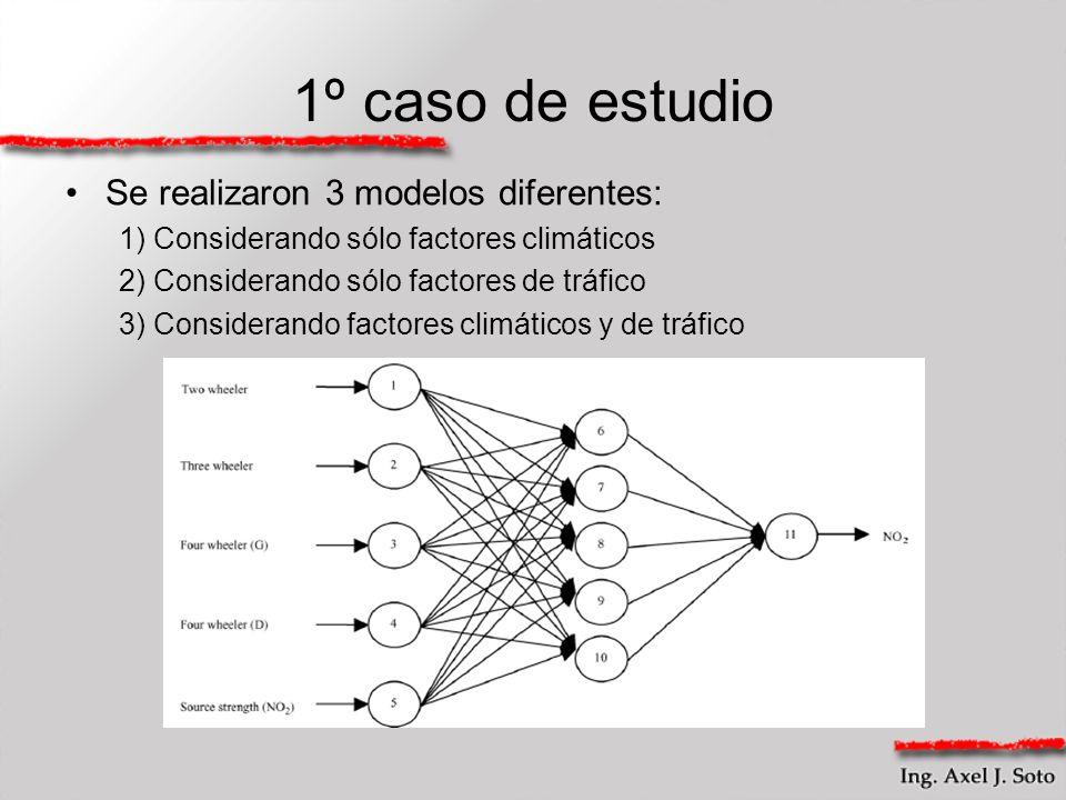 1º caso de estudio Se realizaron 3 modelos diferentes: 1) Considerando sólo factores climáticos 2) Considerando sólo factores de tráfico 3) Consideran