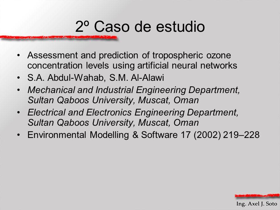 2º Caso de estudio Assessment and prediction of tropospheric ozone concentration levels using artificial neural networks S.A. Abdul-Wahab, S.M. Al-Ala