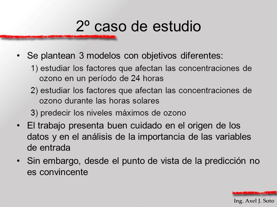2º caso de estudio Se plantean 3 modelos con objetivos diferentes: 1) estudiar los factores que afectan las concentraciones de ozono en un período de