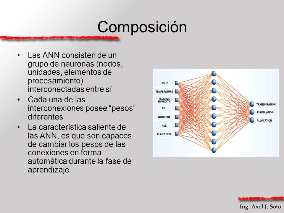 Composición Las ANN consisten de un grupo de neuronas (nodos, unidades, elementos de procesamiento) interconectadas entre sí Cada una de las intercone