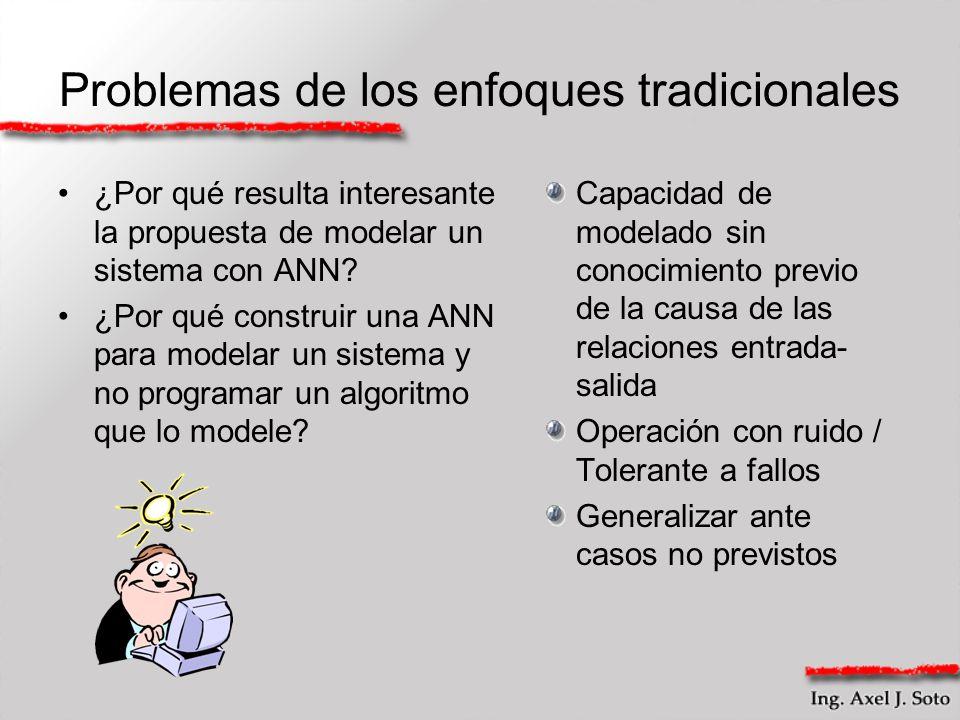 Problemas de los enfoques tradicionales ¿Por qué resulta interesante la propuesta de modelar un sistema con ANN? ¿Por qué construir una ANN para model