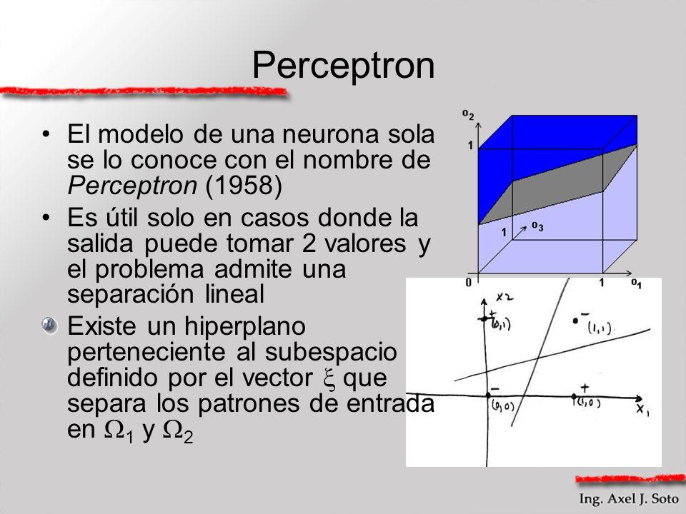 Perceptron El modelo de una neurona sola se lo conoce con el nombre de Perceptron (1958) Es útil solo en casos donde la salida puede tomar 2 valores y