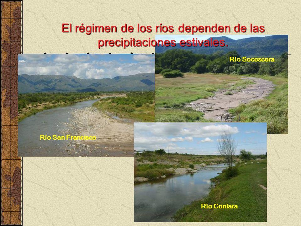 El régimen de los ríos dependen de las precipitaciones estivales. Río Socoscora Río Conlara Río San Francisco
