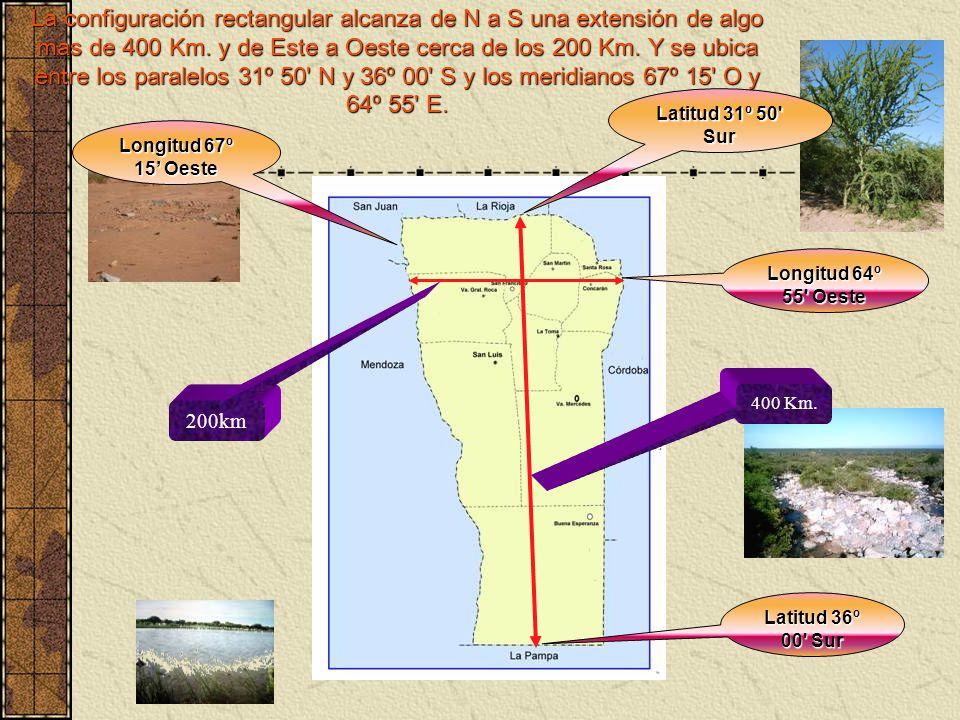 La configuración rectangular alcanza de N a S una extensión de algo mas de 400 Km. y de Este a Oeste cerca de los 200 Km. Y se ubica entre los paralel