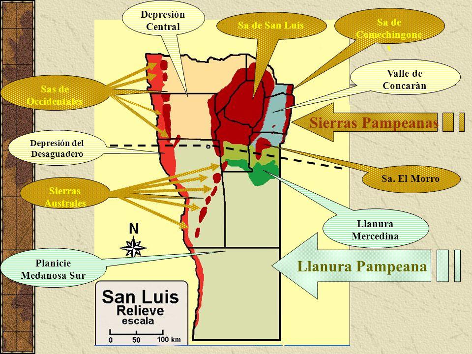 Sierras Pampeanas Planicie Medanosa Sur Llanura Pampeana Llanura Mercedina Sa. El Morro Sa de San Luis Valle de Concaràn Sas de Occidentales Sierras A