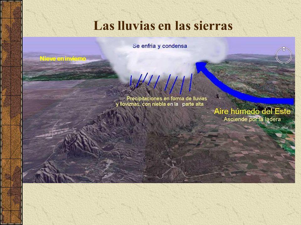 Lluvias de frente Se desarrollan generalmente en los meses de verano, provocando en ocaciones la caida de granizo Cúmulos nimbus de verano