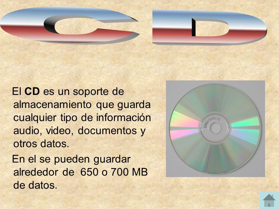 El CD es un soporte de almacenamiento que guarda cualquier tipo de información audio, video, documentos y otros datos. En el se pueden guardar alreded
