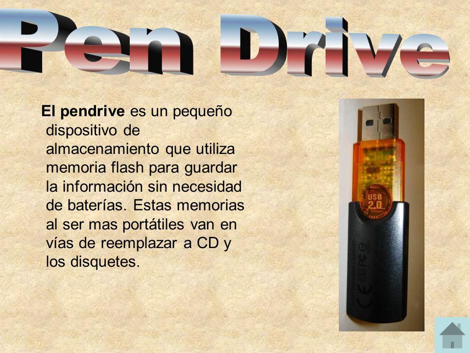 El pendrive es un pequeño dispositivo de almacenamiento que utiliza memoria flash para guardar la información sin necesidad de baterías. Estas memoria