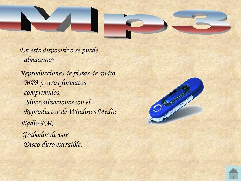 En este dispositivo se puede almacenar: Reproducciones de pistas de audio MP3 y otros formatos comprimidos, Sincronizaciones con el Reproductor de Win