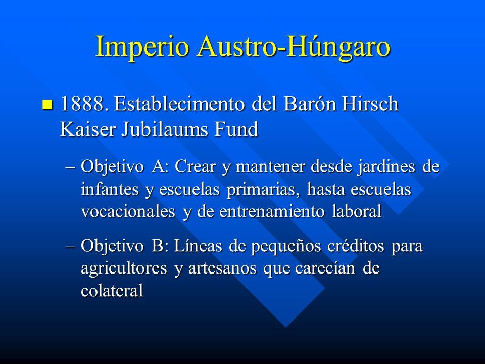 Imperio Austro-Húngaro 1888.Establecimento del Barón Hirsch Kaiser Jubilaums Fund 1888.