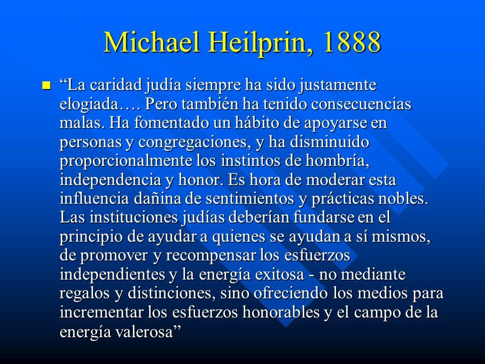 Michael Heilprin, 1888 La caridad judía siempre ha sido justamente elogiada….