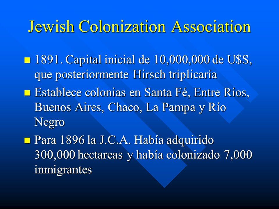Jewish Colonization Association 1891.