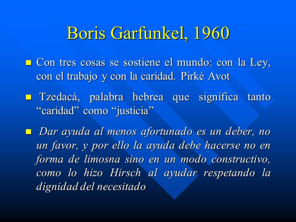 Boris Garfunkel, 1960 Con tres cosas se sostiene el mundo: con la Ley, con el trabajo y con la caridad.