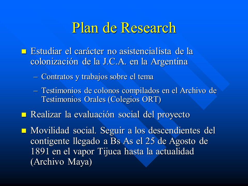 Plan de Research Estudiar el carácter no asistencialista de la colonización de la J.C.A.