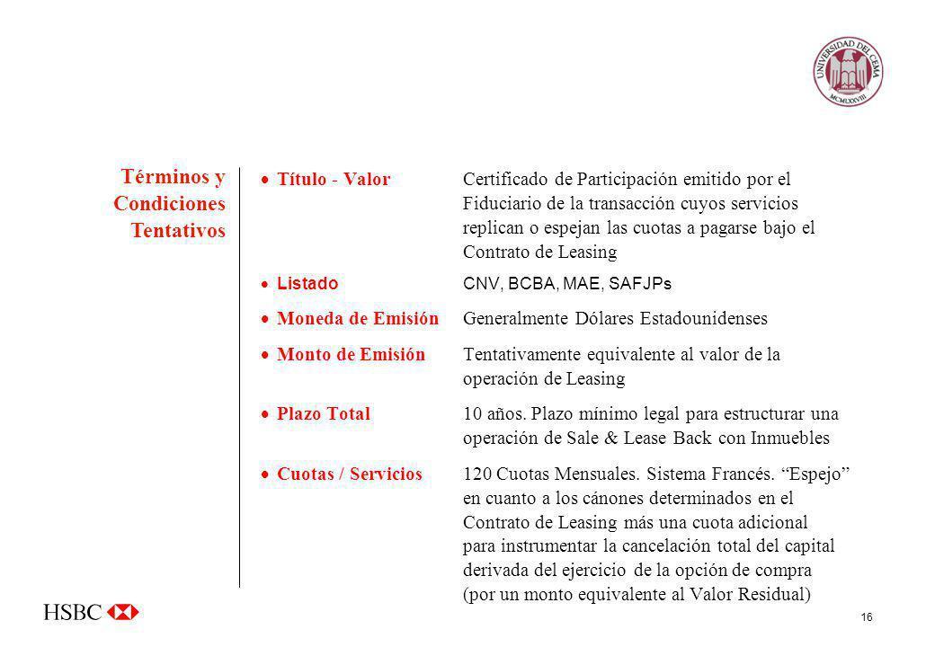 16 Título - Valor Certificado de Participación emitido por el Fiduciario de la transacción cuyos servicios replican o espejan las cuotas a pagarse baj