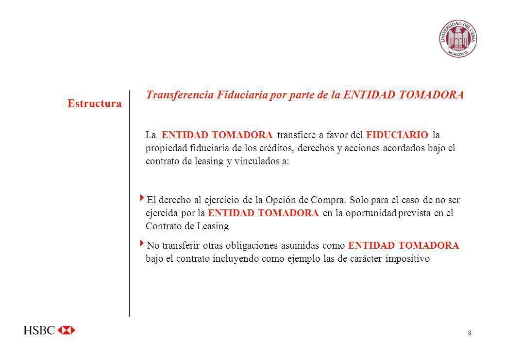 8 Transferencia Fiduciaria por parte de la ENTIDAD TOMADORA La ENTIDAD TOMADORA transfiere a favor del FIDUCIARIO la propiedad fiduciaria de los crédi
