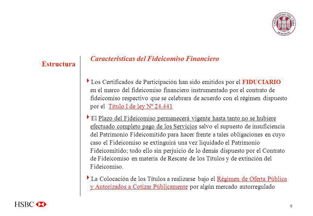 9 Características del Fideicomiso Financiero Los Certificados de Participación han sido emitidos por el FIDUCIARIO en el marco del fideicomiso financi