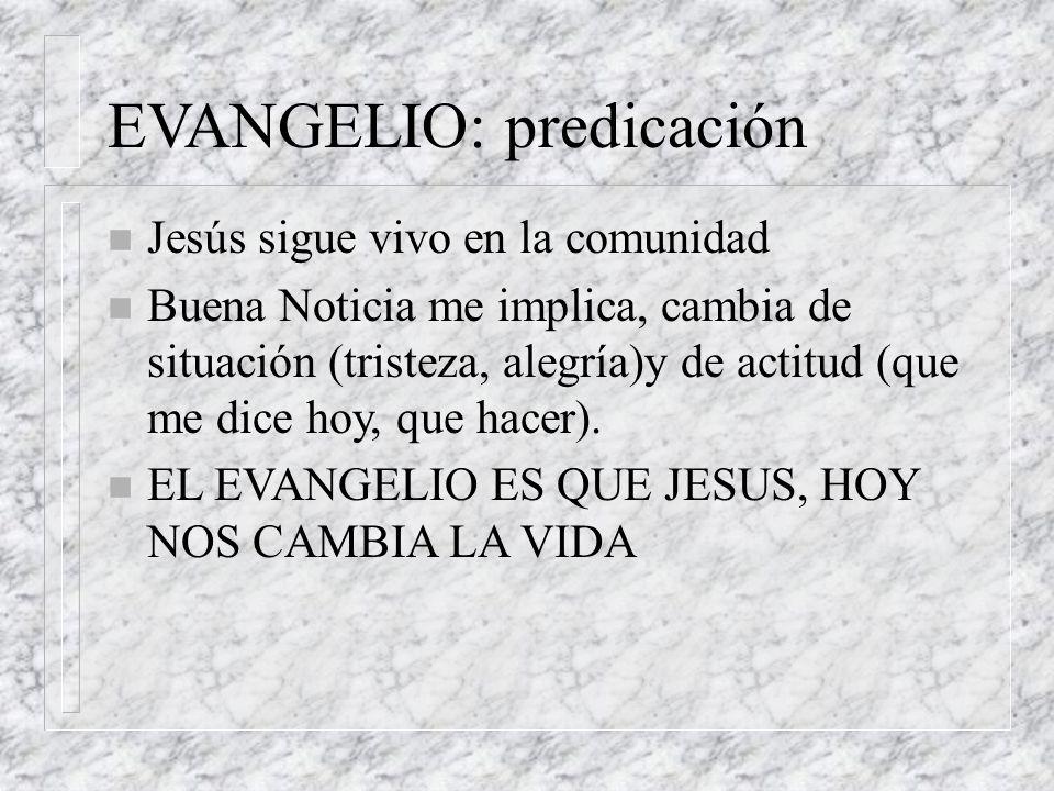 EVANGELIO: predicación n Jesús sigue vivo en la comunidad n Buena Noticia me implica, cambia de situación (tristeza, alegría)y de actitud (que me dice