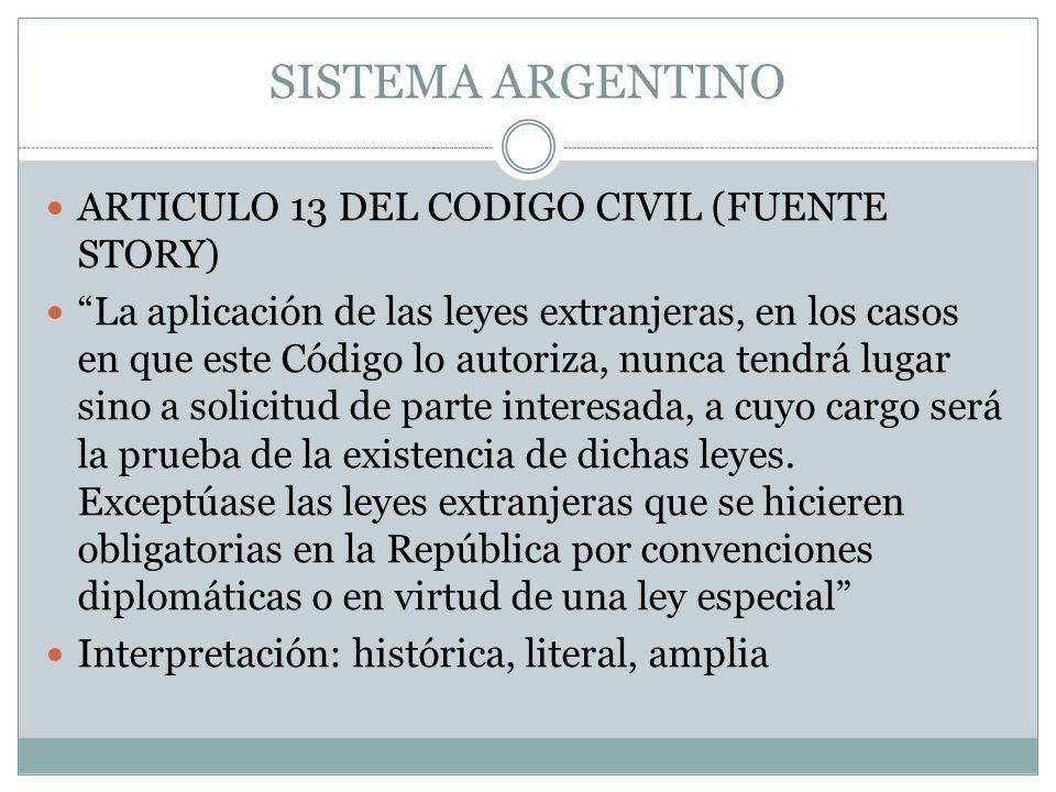 SISTEMA ARGENTINO ARTICULO 13 DEL CODIGO CIVIL (FUENTE STORY) La aplicación de las leyes extranjeras, en los casos en que este Código lo autoriza, nun