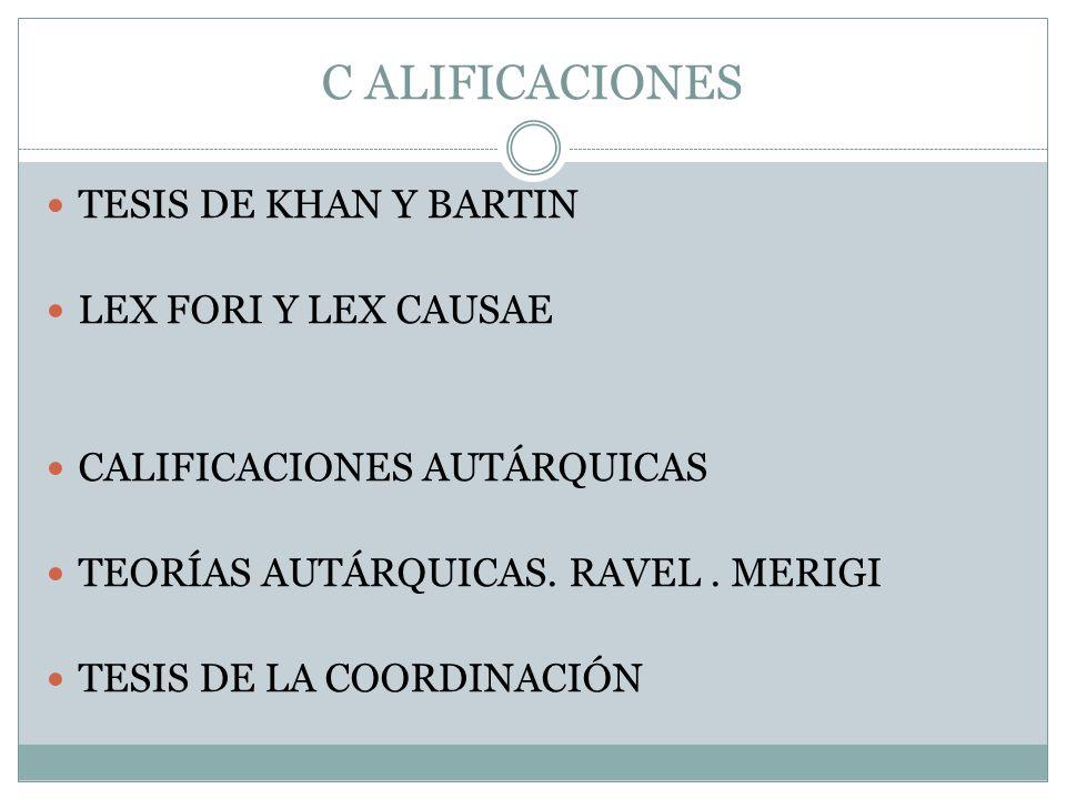 C ALIFICACIONES TESIS DE KHAN Y BARTIN LEX FORI Y LEX CAUSAE CALIFICACIONES AUTÁRQUICAS TEORÍAS AUTÁRQUICAS. RAVEL. MERIGI TESIS DE LA COORDINACIÓN