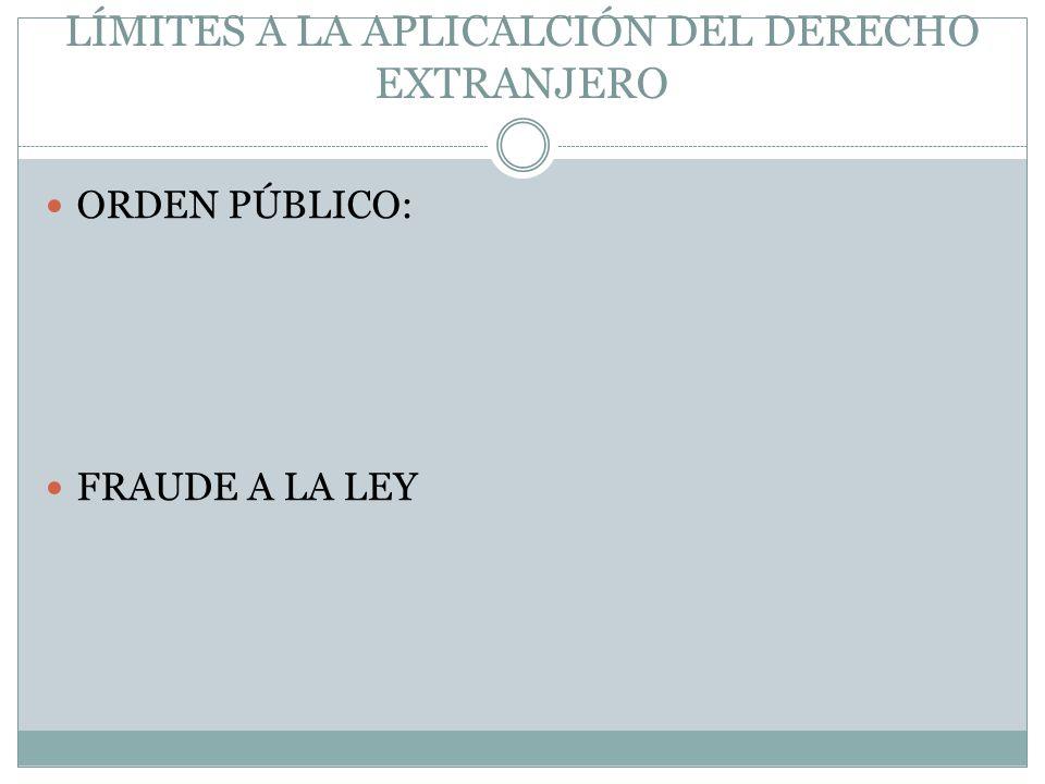 LÍMITES A LA APLICALCIÓN DEL DERECHO EXTRANJERO ORDEN PÚBLICO: FRAUDE A LA LEY
